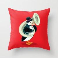 Puffin On A Tuba Throw Pillow