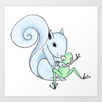 The Frog & The Squirrel: A Birthday Squeeze Art Print