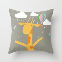 giraffe in the rain Throw Pillow