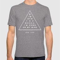 Woods -- Bon Iver Mens Fitted Tee Tri-Grey SMALL