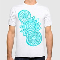 The Blue Mandalas Mens Fitted Tee Ash Grey SMALL