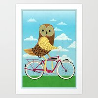 Owl Bicycle Art Print