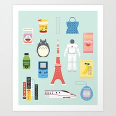 Japan Icons Illustration : PRESENT Art Print