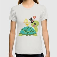 happy turtle Womens Fitted Tee Silver SMALL