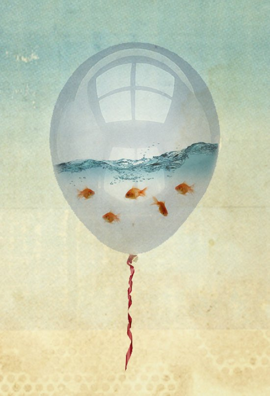 balloon fish o2, freedom in a bubble Art Print