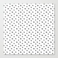 Grey and white dots - classy college student collection Canvas Print