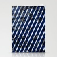 Blue grunge stripes on white background  Stationery Cards