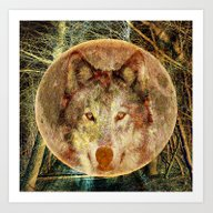 Art Print featuring Wolf Forest Moon Abstrac… by Lo Coco Agostino