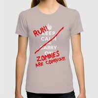 Keep Calm And Run Zombie… Womens Fitted Tee Cinder SMALL