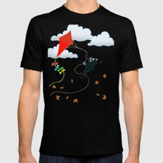 Cat on a Kite - Autumn Cat Mens Fitted Tee Black SMALL