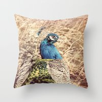 Peacock photography blue green brown photography branches immortality royalty Throw Pillow