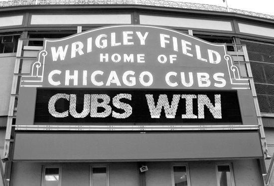 Chicago Cubs Wrigley Field Sign CUBS WIN! Art Print