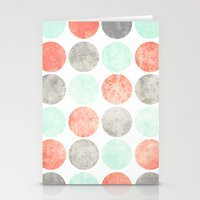 Circles (Mint, Coral & Gray) Stationery Cards