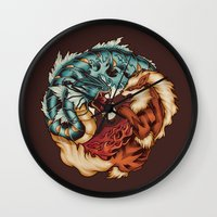 The Tiger And The Dragon Wall Clock