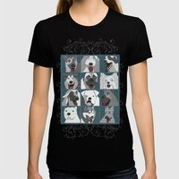 Dogs horizontal Womens Fitted Tee Black SMALL