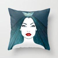 Rainy girl Throw Pillow