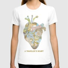 A Traveler's Heart Womens Fitted Tee White SMALL