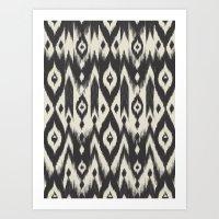 Black & Cream Tribal Ika… Art Print