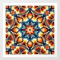 Colorful Concentric Motif Art Print