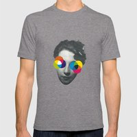 Psychedelic Glasses Mens Fitted Tee Tri-Grey SMALL