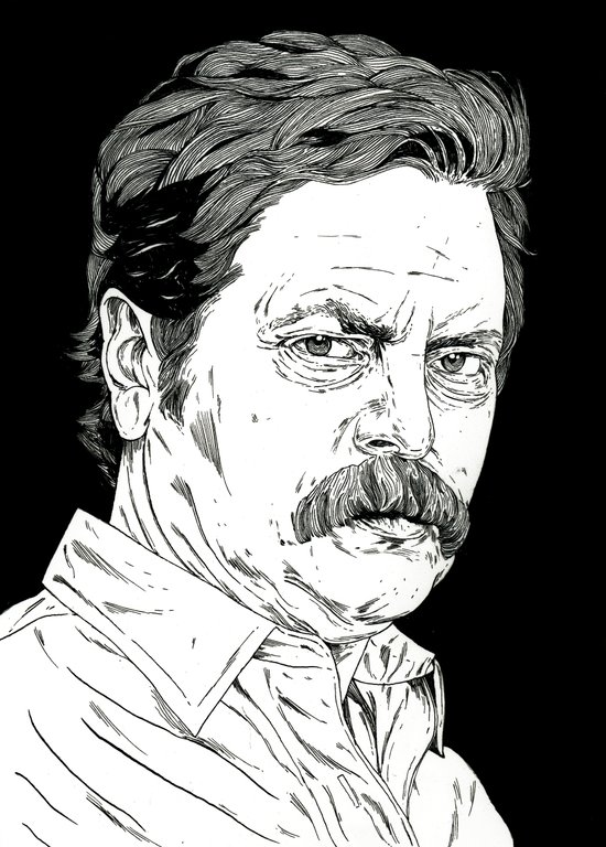 Ron Swanson Art Print