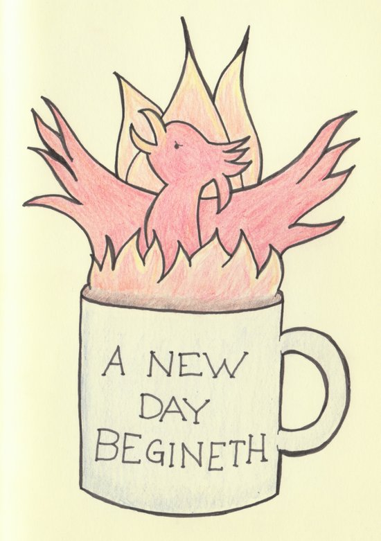 Coffee Phoenix: A new day begineth! Art Print