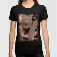 Big Gears (sepia ) Womens Fitted Tee Tri-Black SMALL