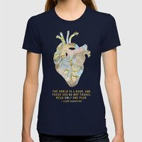 A Traveler's Heart + Quote Womens Fitted Tee Navy SMALL