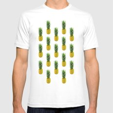 Pineapple Pattern Mens Fitted Tee White SMALL