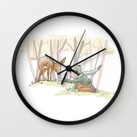 An Autumn Fall Scene - A Fawn and a Young Boy Wall Clock