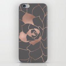 Rosegold  blossom on grey  iPhone & iPod Skin