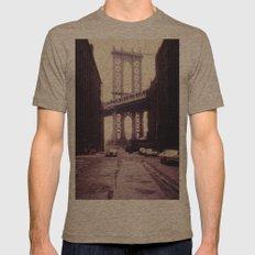 New York City - Manhattan Bridge Tower in Brooklyn Mens Fitted Tee Tri-Coffee SMALL