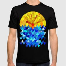 Sun & Sea Collage Black SMALL Mens Fitted Tee