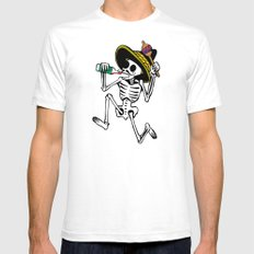 DANCING CALAVERA  SMALL White Mens Fitted Tee