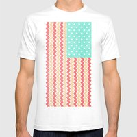 Zig Zag Flag. Mens Fitted Tee White SMALL