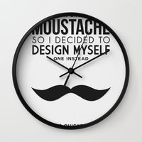 Digital Moustache. Wall Clock