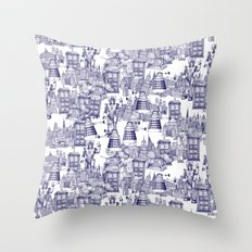 Doctor Who Toile de Jouy | 'Walking Doodle' | Blue Throw Pillow