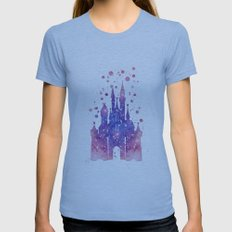 Disneys Cinderella Castl… Womens Fitted Tee Athletic Blue SMALL