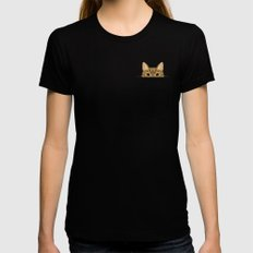 Pocket Tabby Cat Womens Fitted Tee Black SMALL