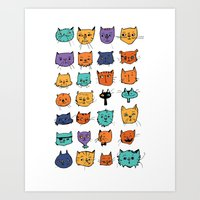 Stylish Cats Art Print