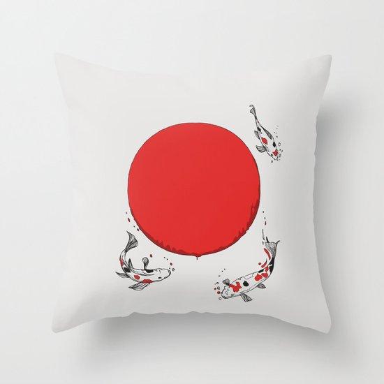 Koi and Sun Throw Pillow