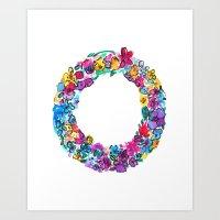 O Letter Floral Art Print