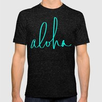 Aloha Tropical Turquoise Mens Fitted Tee Tri-Black SMALL