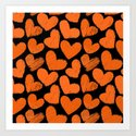 Sketchy hearts in orange and black Art Print