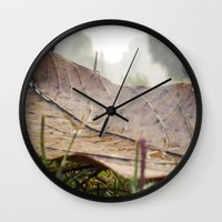 Dew Drops On A Fallen Le… Wall Clock