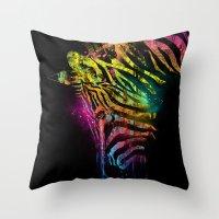 Zebra Mood Technicolor Throw Pillow