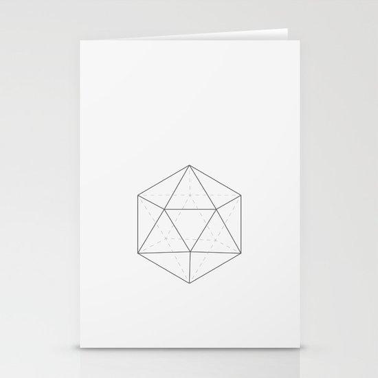 Black & white Icosahedron Stationery Card