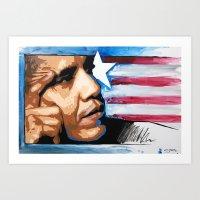 obama Art Prints featuring Obama by CjosephART