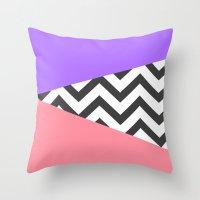Color Blocked Chevron 7 Throw Pillow