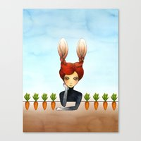 The Rabbit Girl With Pla… Canvas Print
